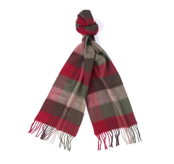 Barbour Lambswool Large Tattersall Scarves Dark Green Taupe Red
