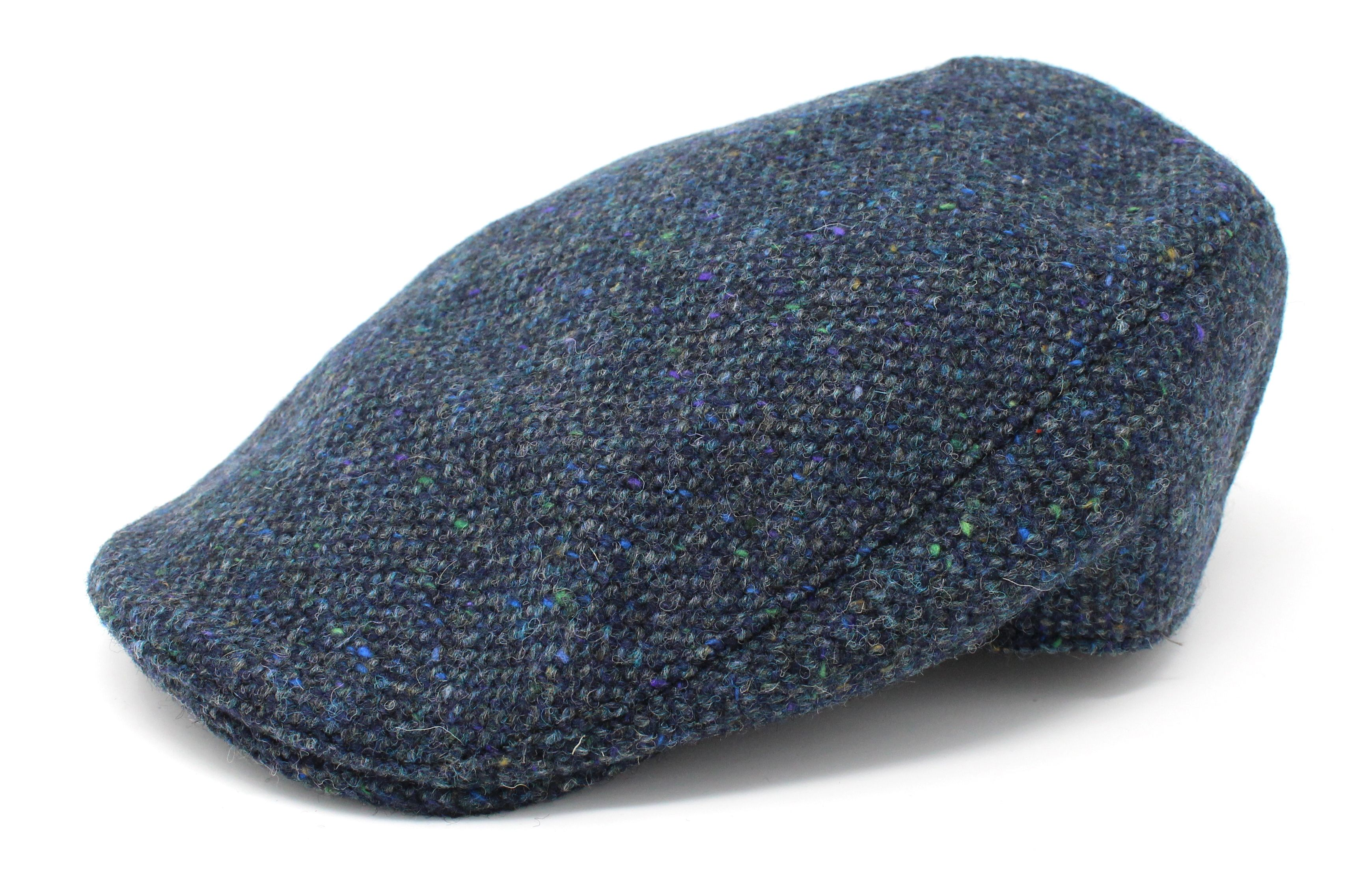 Hanna Hats Donegal Tweed cap Dark Blue salt & pepper